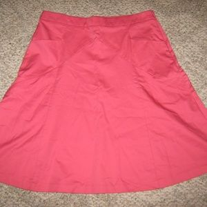 Pink Wide A Line Flare Back Zip Stretch Skirt 10